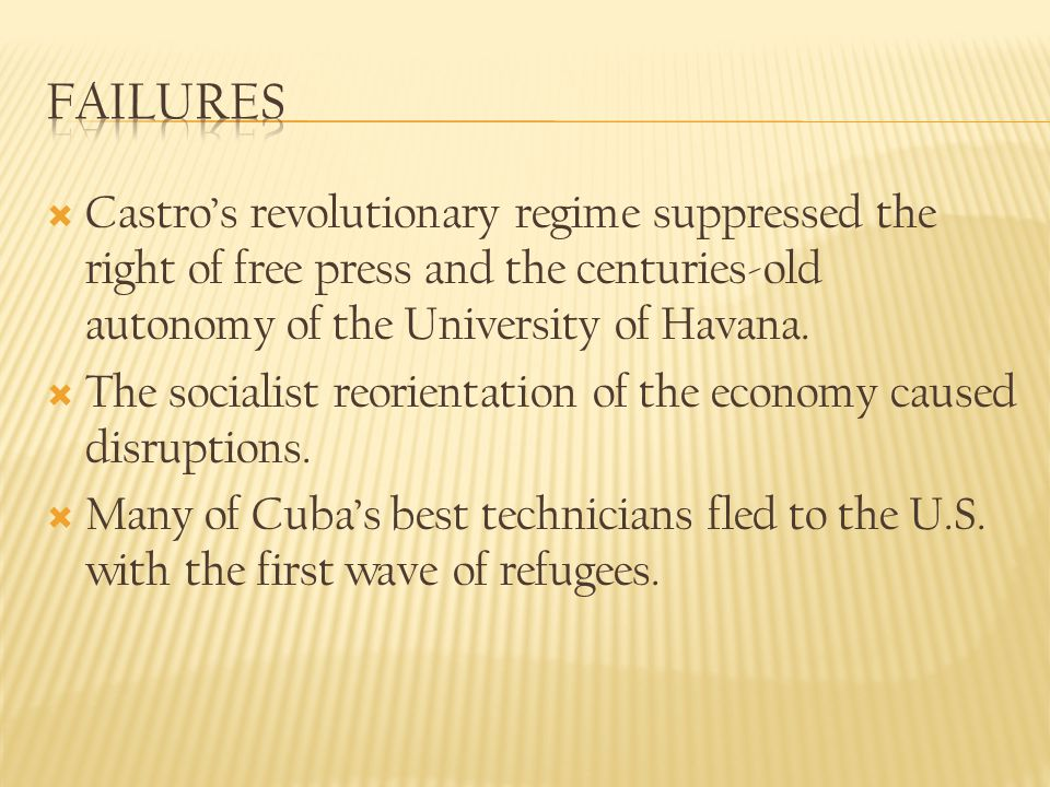 Castros revolutionary regime suppressed the right of free press and the centuries-old autonomy of the University of Havana.