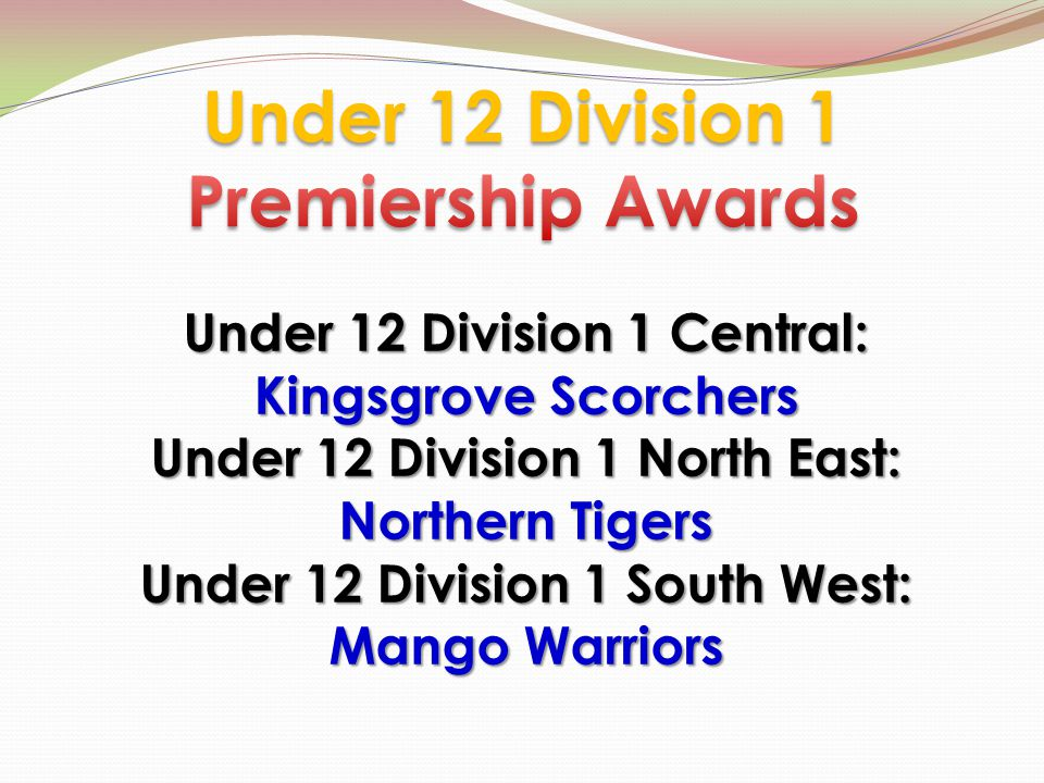 Under 12 Division 1 Central: Kingsgrove Scorchers Under 12 Division 1 North East: Northern Tigers Under 12 Division 1 South West: Mango Warriors