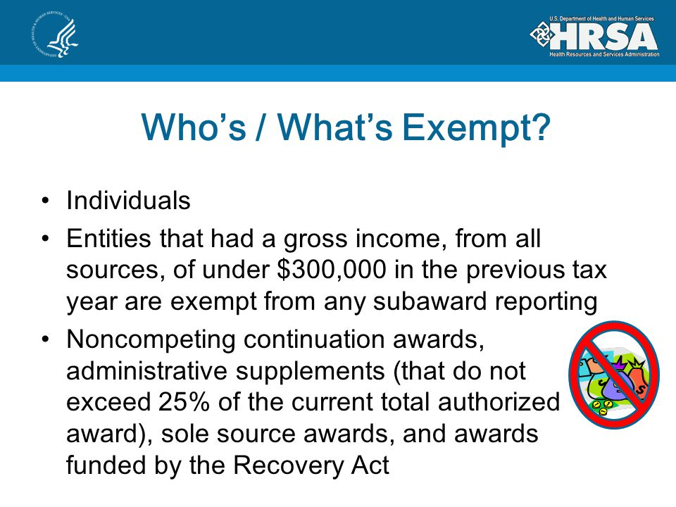 Whos / Whats Exempt.