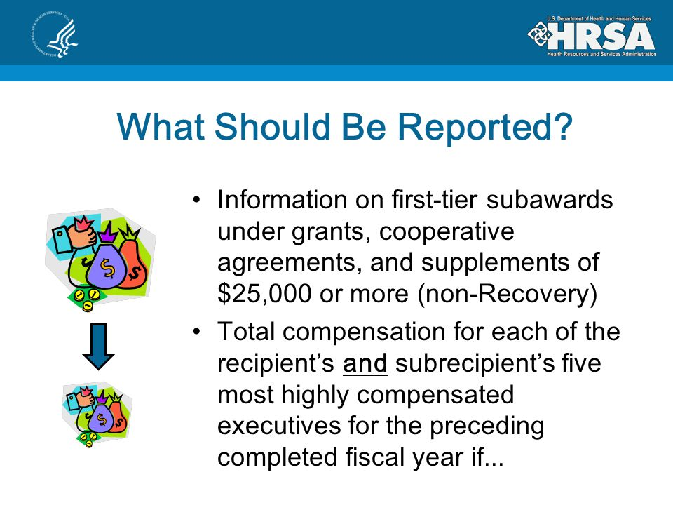 What Should Be Reported? Information on first-tier subawards under grants, cooperative agreements, and supplements of $25,000 or more (non-Recovery) T
