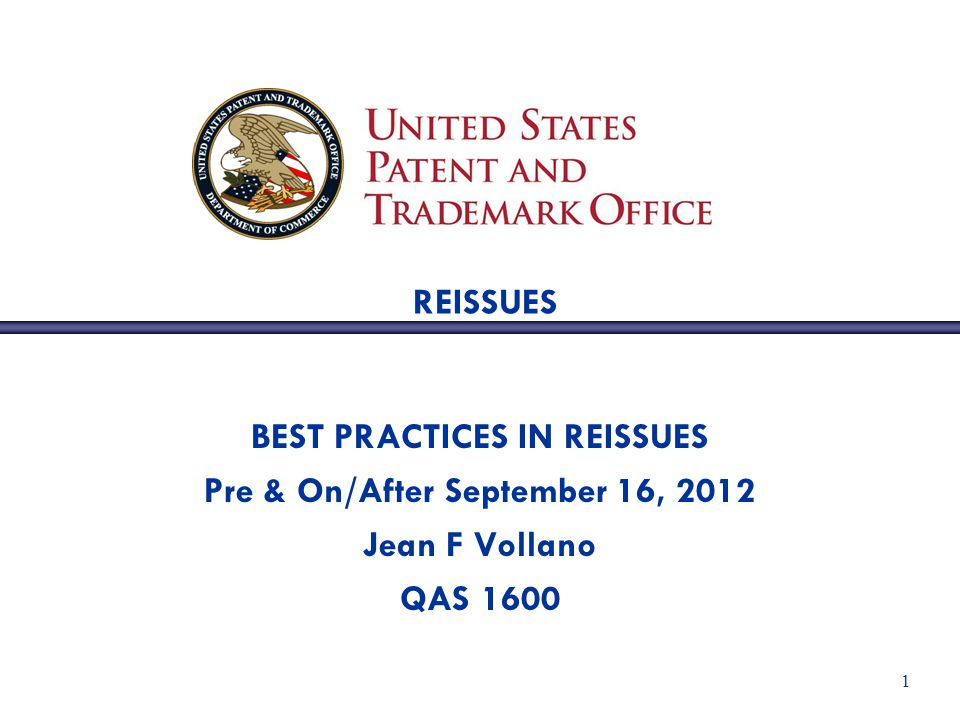 2 BEST PRACTICES IN REISSUE UNDERSTANDING CLAIM AMENDMENTS A copy of a claim set from a patented reissue