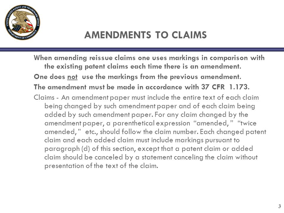4 AMENDMENTS TO THE CLAIMS (d) Changes shown by markings.