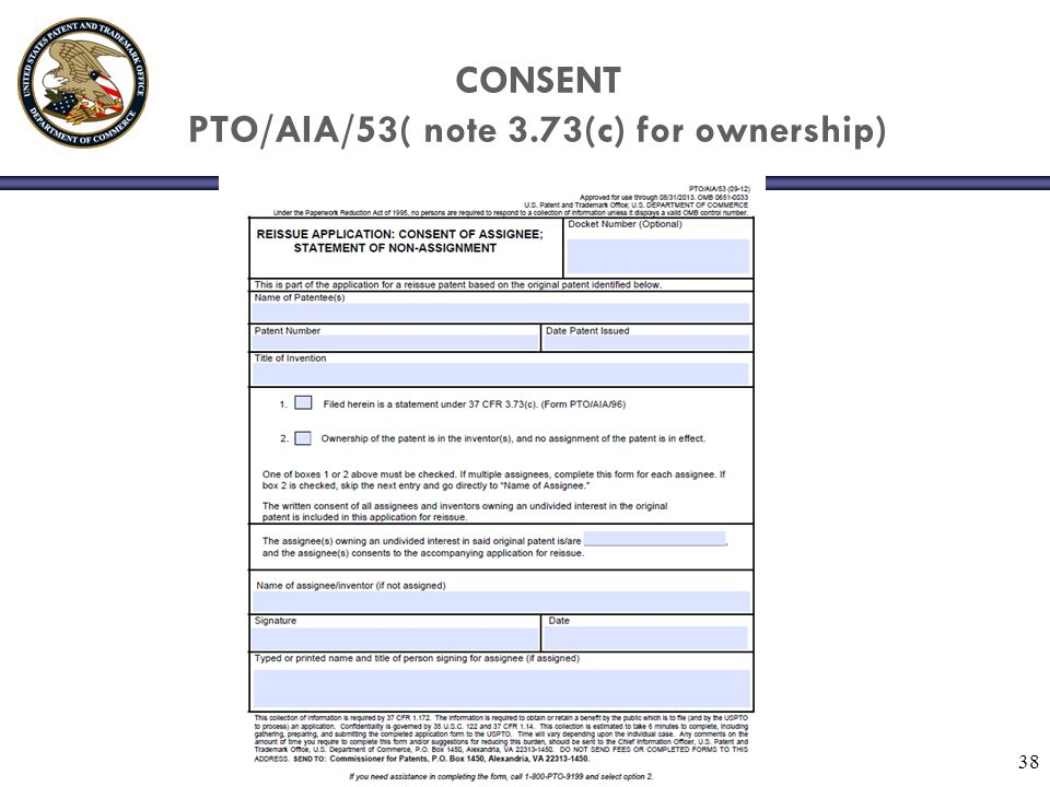 CONSENT PTO/AIA/53( note 3.73(c) for ownership) 38