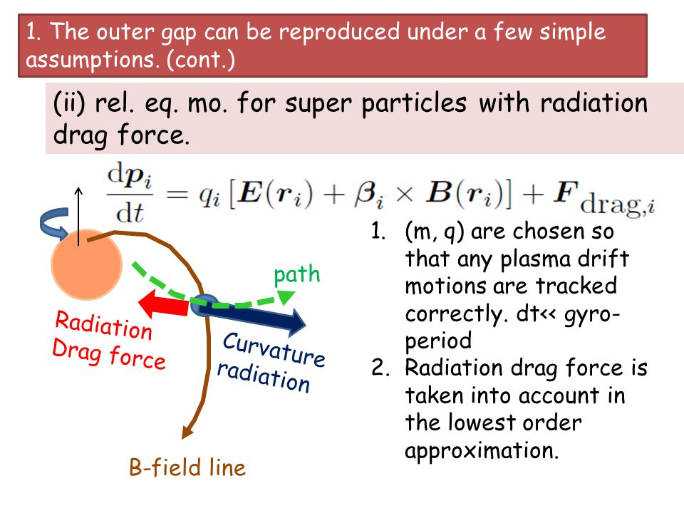 (ii) rel. eq. mo. for super particles with radiation drag force.