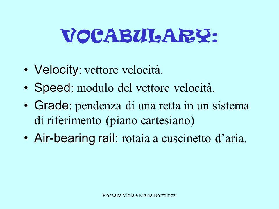 Rossana Viola e Maria Bortoluzzi VOCABULARY: Velocity :Velocity : vettore velocità.