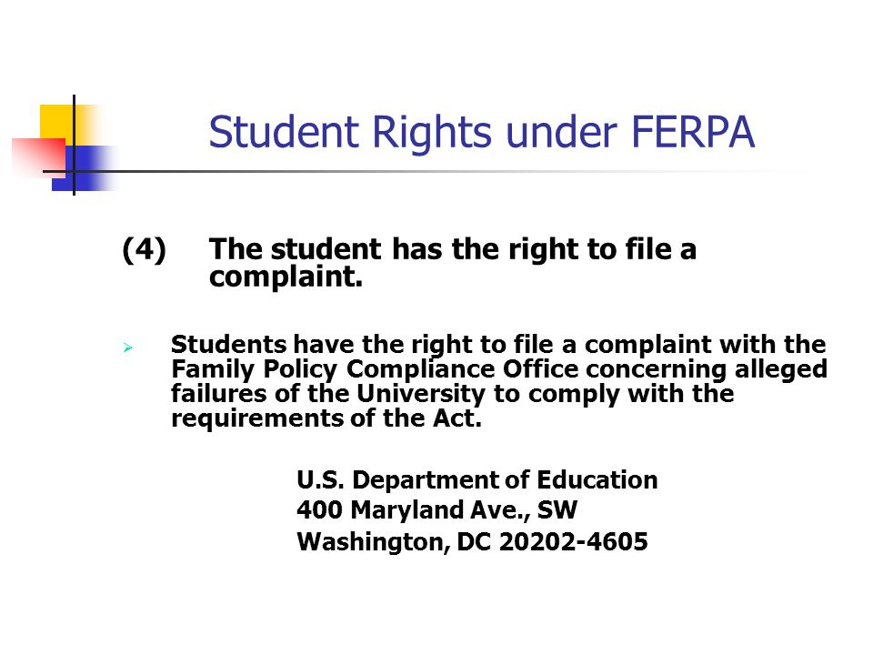 Student Rights under FERPA (4)The student has the right to file a complaint.