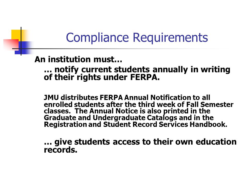 Compliance Requirements An institution must… … notify current students annually in writing of their rights under FERPA.