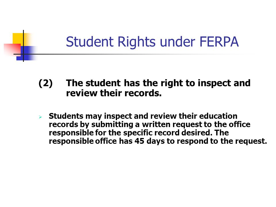 Student Rights under FERPA (2) The student has the right to inspect and review their records.