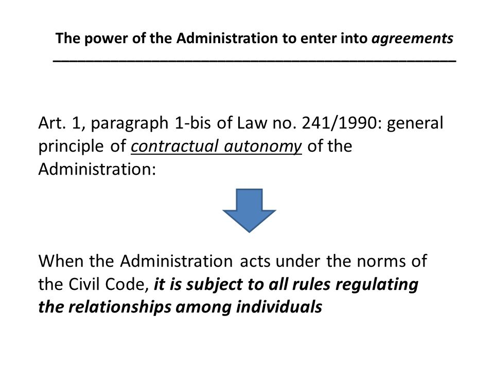 Art. 1, paragraph 1-bis of Law no. 241/1990: general principle of contractual autonomy of the Administration: When the Administration acts under the n