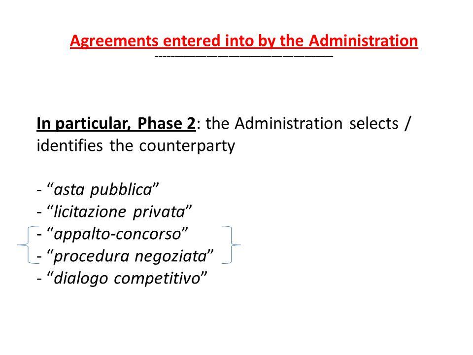 In particular, Phase 2: the Administration selects / identifies the counterparty - asta pubblica - licitazione privata - appalto-concorso - procedura negoziata - dialogo competitivo Agreements entered into by the Administration _________________________________________________