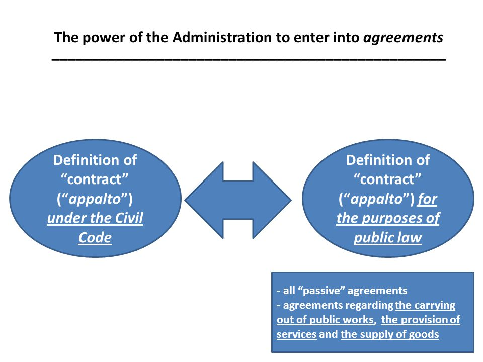 The power of the Administration to enter into agreements _________________________________________________ Definition of contract (appalto) under the Civil Code Definition of contract (appalto) for the purposes of public law - all passive agreements - agreements regarding the carrying out of public works, the provision of services and the supply of goods