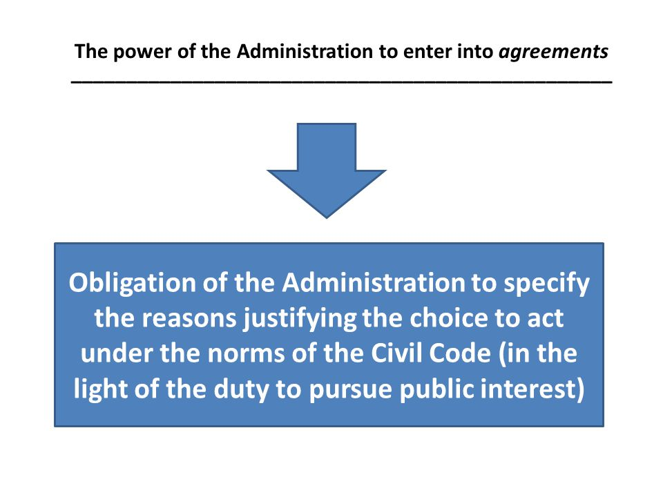 The power of the Administration to enter into agreements _________________________________________________ Obligation of the Administration to specify