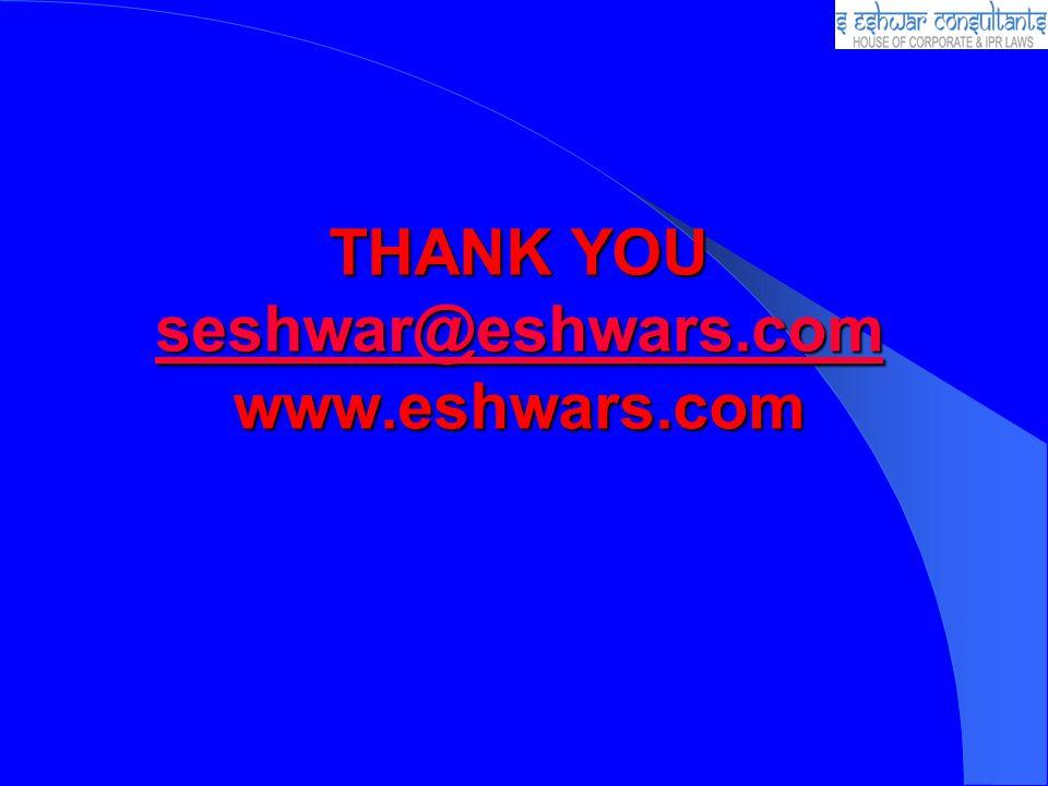 THANK YOU seshwar@eshwars.com www.eshwars.com seshwar@eshwars.com