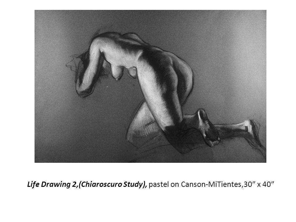 Life Drawing 2,(Chiaroscuro Study), pastel on Canson-MiTientes,30 x 40