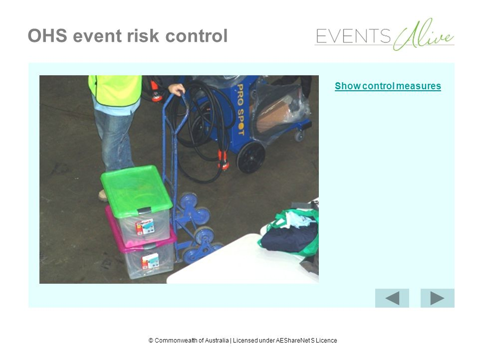 © Commonwealth of Australia | Licensed under AEShareNet S Licence OHS event risk control Show control measures
