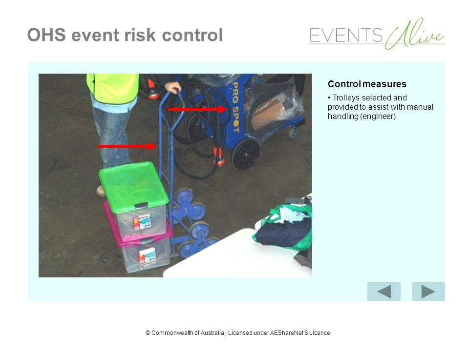 © Commonwealth of Australia | Licensed under AEShareNet S Licence OHS event risk control Control measures Trolleys selected and provided to assist with manual handling (engineer)