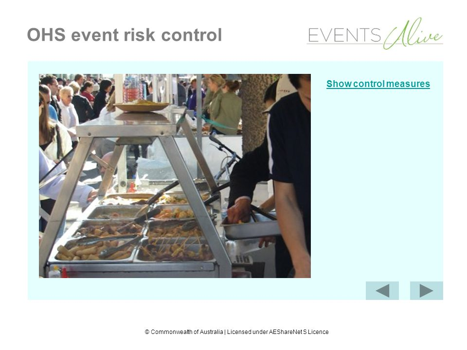 © Commonwealth of Australia | Licensed under AEShareNet S Licence OHS event risk control Control measures Barrier between customers and food (isolate)