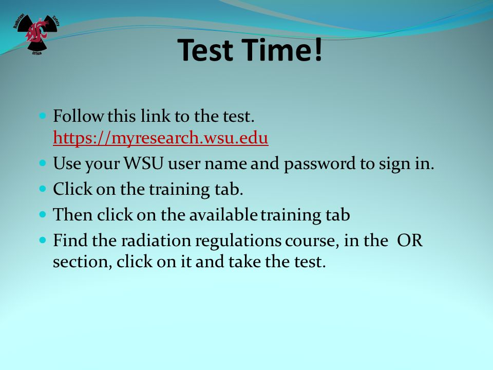 Test Time. Follow this link to the test.