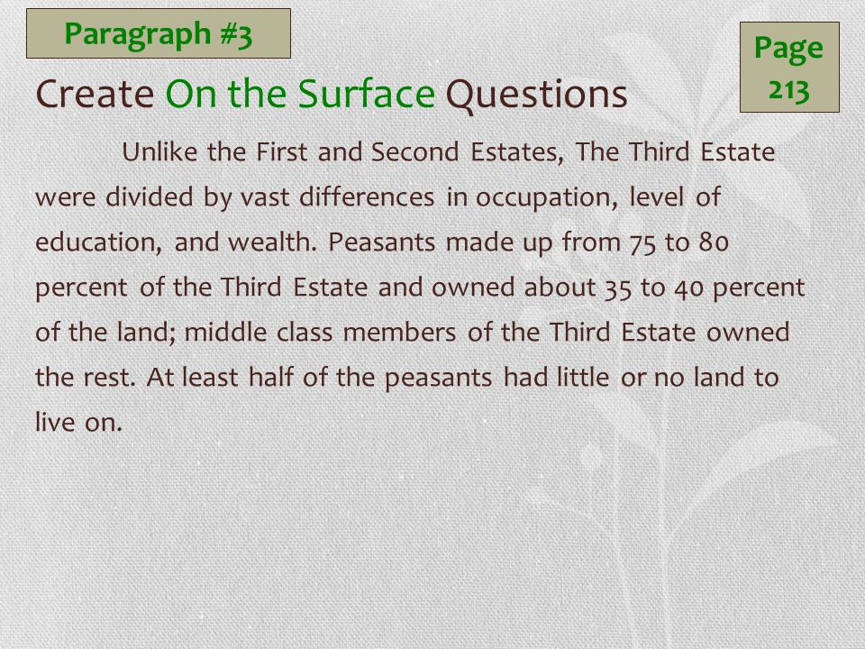 Create On the Surface Questions Unlike the First and Second Estates, The Third Estate were divided by vast differences in occupation, level of education, and wealth.