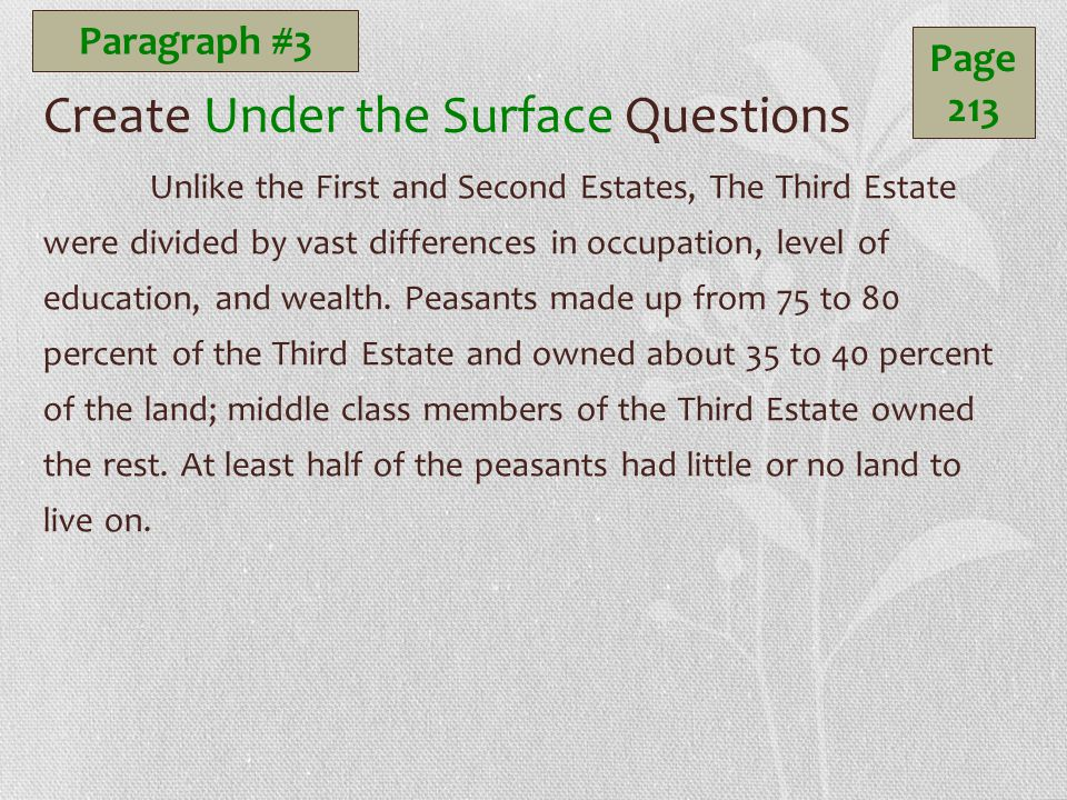 Create Under the Surface Questions Unlike the First and Second Estates, The Third Estate were divided by vast differences in occupation, level of education, and wealth.