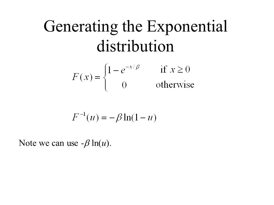 Generating the Exponential distribution Note we can use - ln(u).