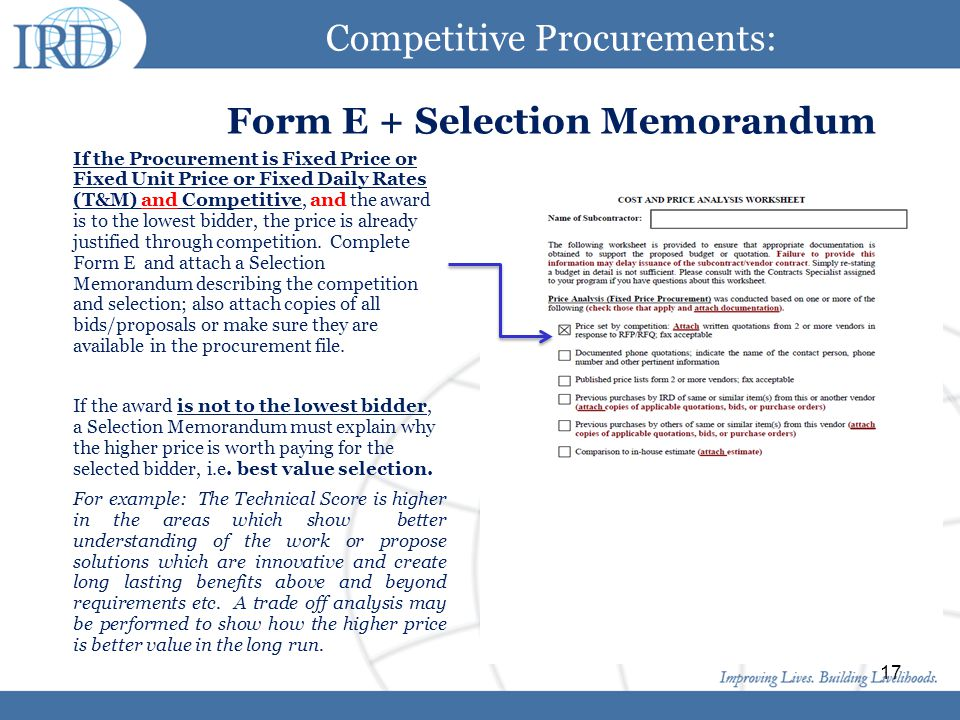 Click to edit Master title style Click to edit Master text styles Second level Third level Fourth level Fifth level 17 Competitive Procurements: Form