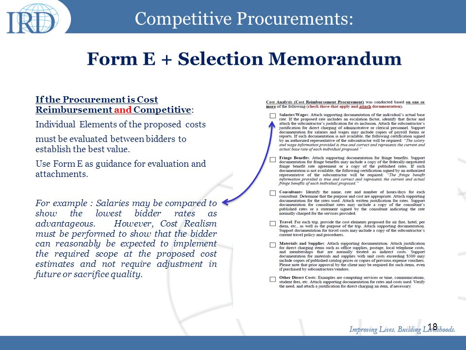 Click to edit Master title style Click to edit Master text styles Second level Third level Fourth level Fifth level 18 Competitive Procurements: Form