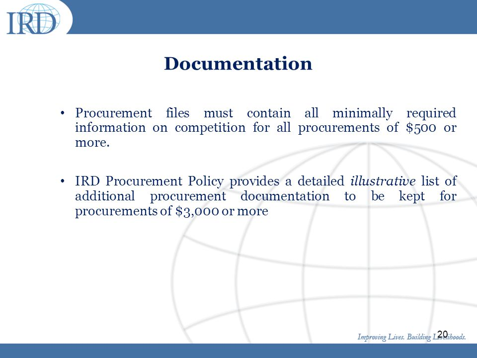 Click to edit Master title style Click to edit Master text styles Second level Third level Fourth level Fifth level 20 Documentation Procurement files