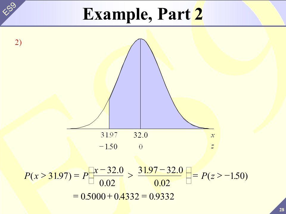 28 ES9 PxP x Pz(.). (.... 3197 32.0 0.02 319732.0 0.02 150) 050000433209332 32.0 150. Example, Part 2 2)