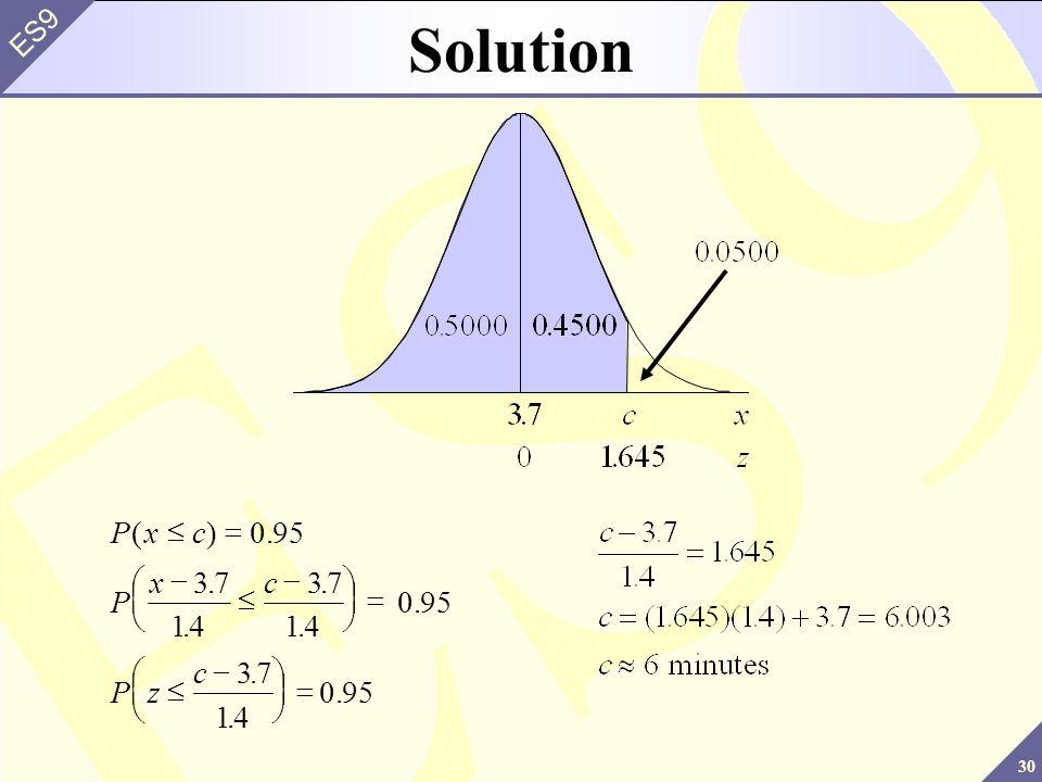 30 ES9 Pxc P xc Pz c ()0....... 95 37 14 37 14 37 14 Solution