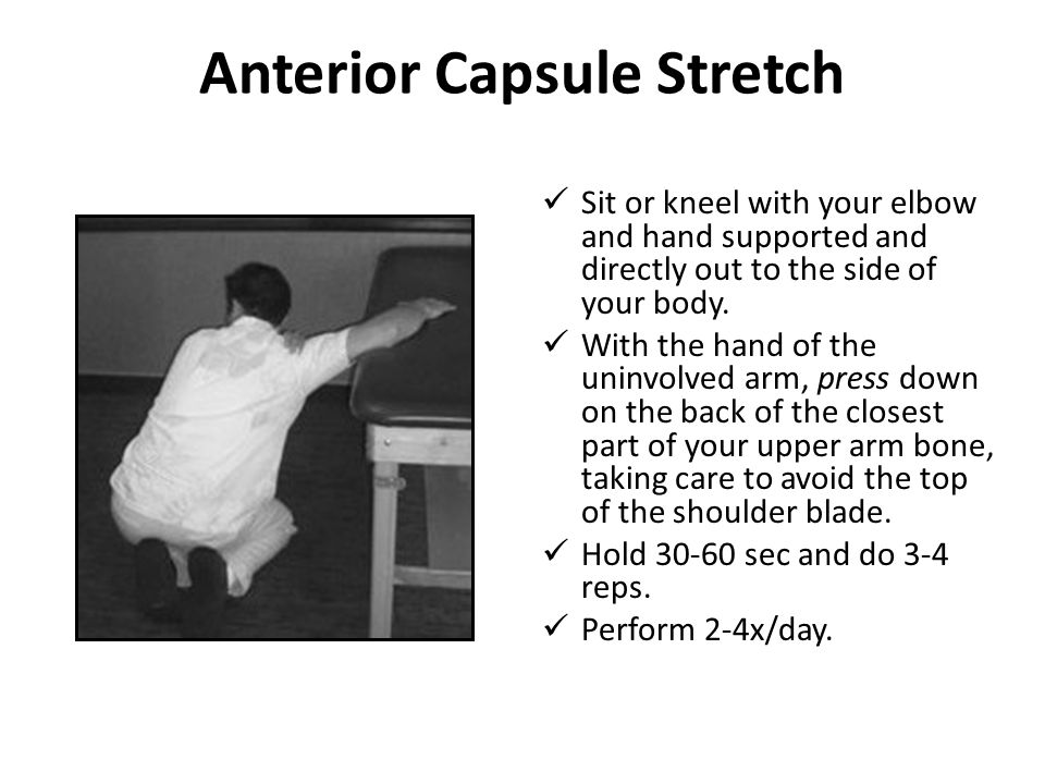 Anterior Capsule Stretch Sit or kneel with your elbow and hand supported and directly out to the side of your body. With the hand of the uninvolved ar