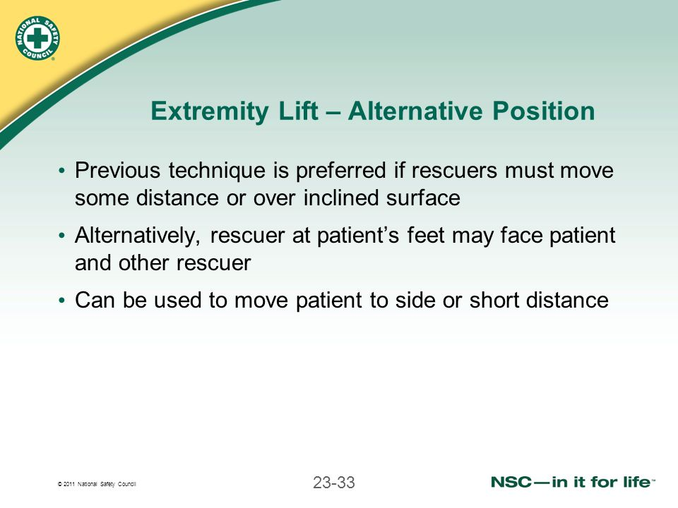 © 2011 National Safety Council 23-33 Extremity Lift – Alternative Position Previous technique is preferred if rescuers must move some distance or over