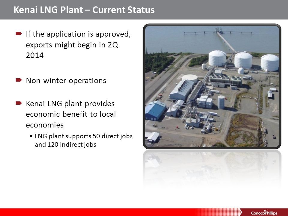 Kenai LNG Plant – Current Status If the application is approved, exports might begin in 2Q 2014 Non-winter operations Kenai LNG plant provides economi