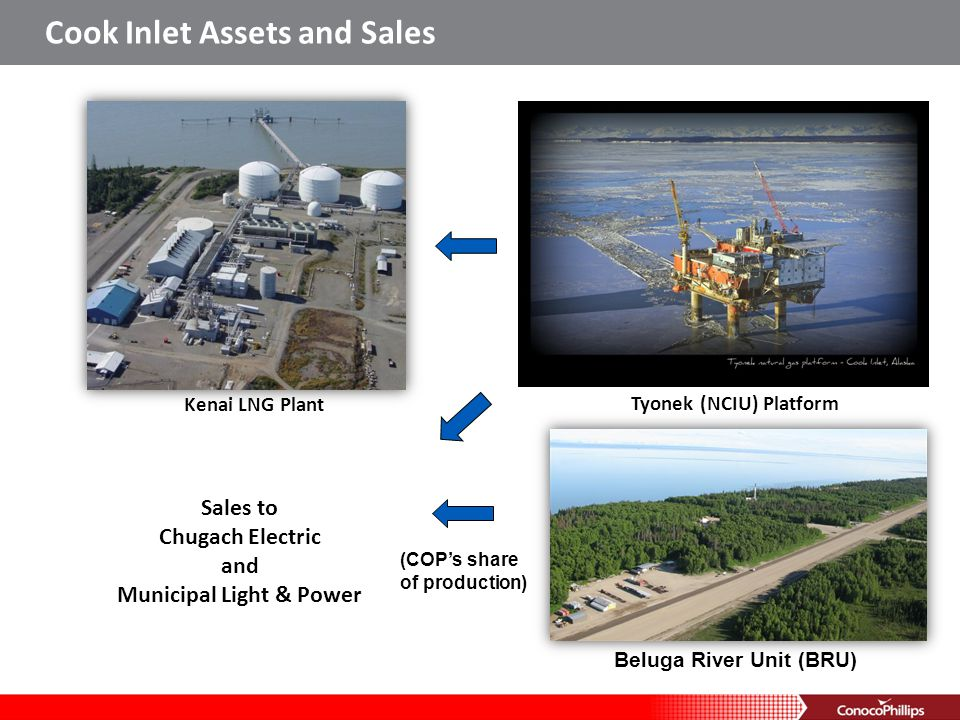 Kenai LNG Plant Cook Inlet Assets and Sales Tyonek (NCIU) Platform Beluga River Unit (BRU) (COPs share of production) Sales to Chugach Electric and Mu
