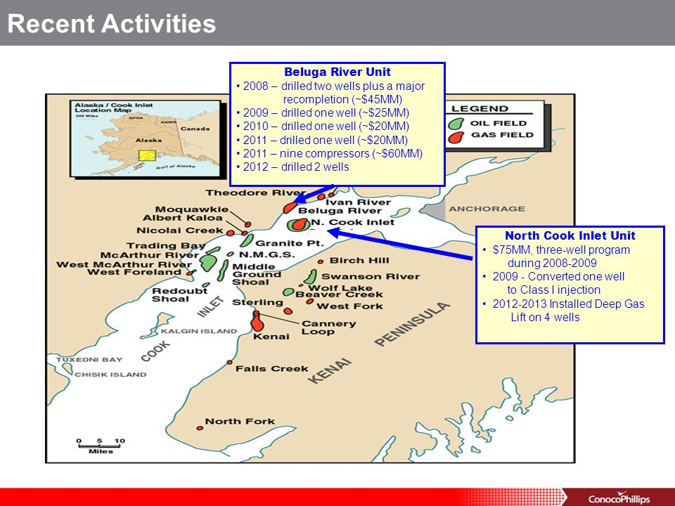 Beluga River Unit 2008 – drilled two wells plus a major recompletion (~$45MM) 2009 – drilled one well (~$25MM) 2010 – drilled one well (~$20MM) 2011 –