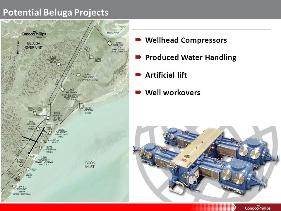 Wellhead Compressors Produced Water Handling Artificial lift Well workovers Potential Beluga Projects