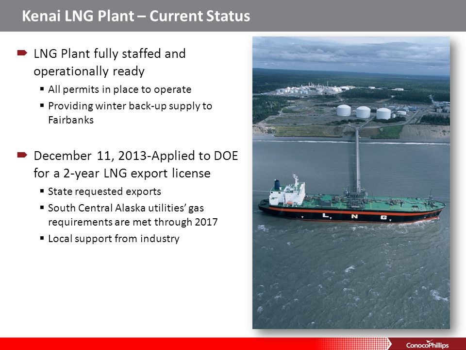Kenai LNG Plant – Current Status If the application is approved, exports might begin in 2Q 2014 Non-winter operations Kenai LNG plant provides economic benefit to local economies LNG plant supports 50 direct jobs and 120 indirect jobs