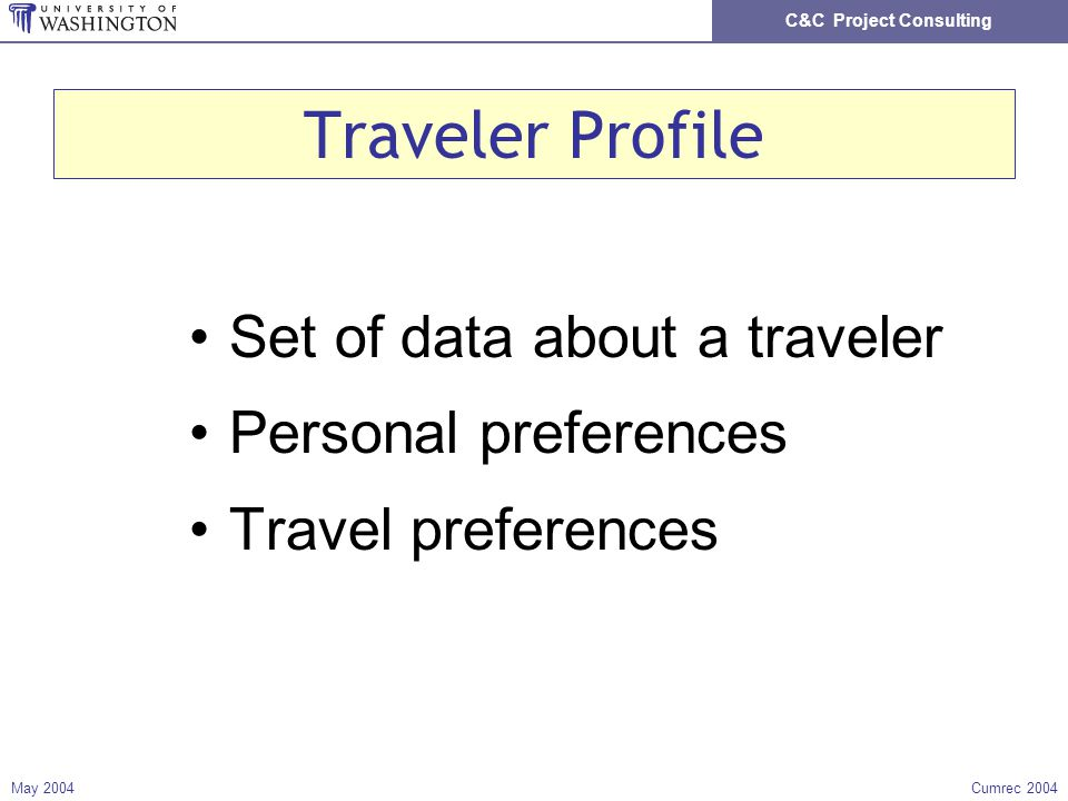 C&C Project Consulting May 2004Cumrec 2004 Traveler Profile Set of data about a traveler Personal preferences Travel preferences
