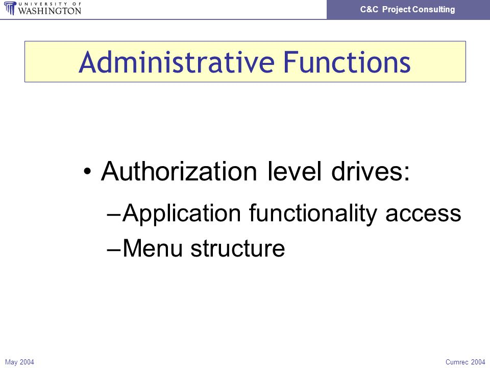 C&C Project Consulting May 2004Cumrec 2004 Administrative Functions Authorization level drives: –Application functionality access –Menu structure