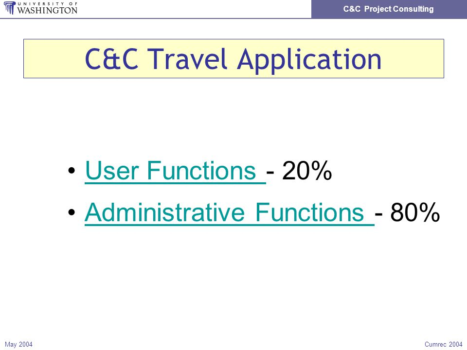 C&C Project Consulting May 2004Cumrec 2004 C&C Travel Application User Functions - 20%User Functions Administrative Functions - 80%Administrative Functions