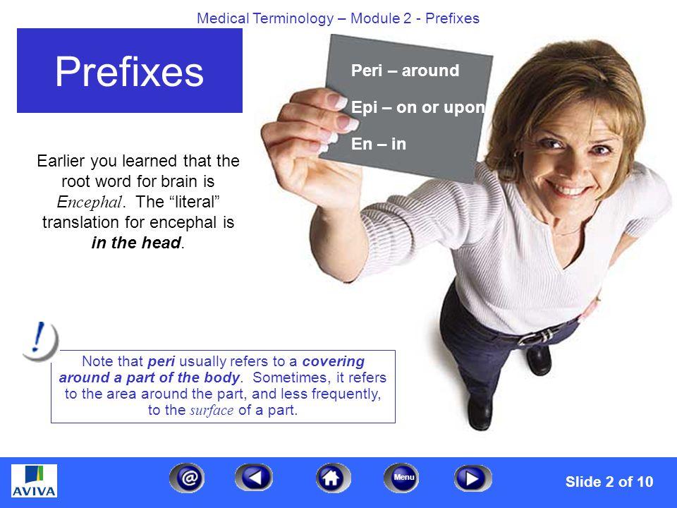 Menu Medical Terminology – Module 2 - Prefixes The next two prefixes are: Prefixes Inter – between Intra - within Slide 3 of 10