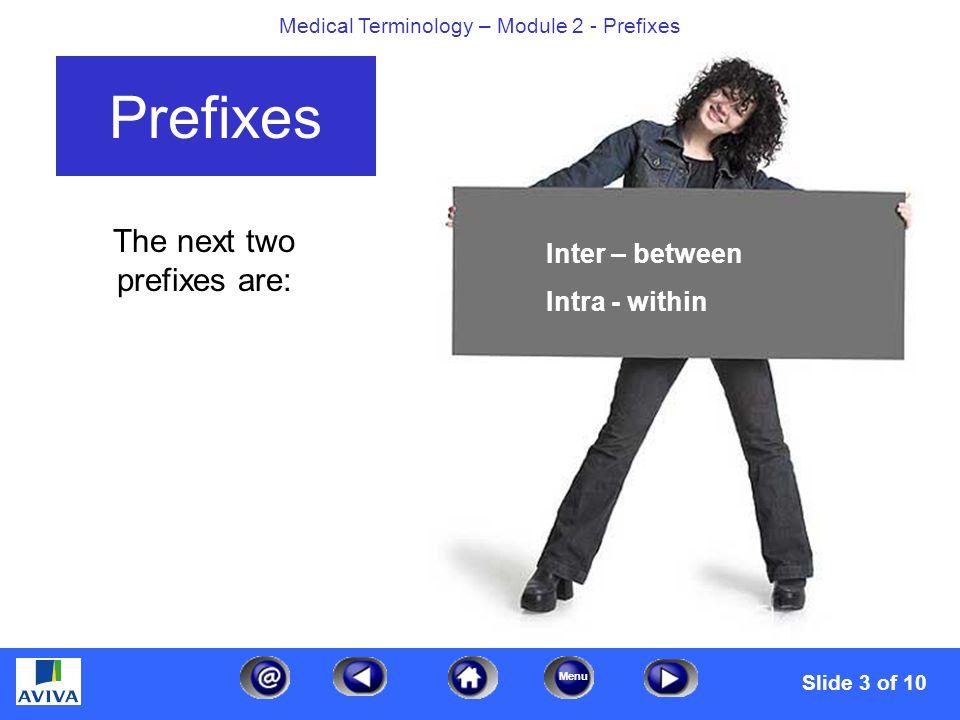 Menu Medical Terminology – Module 2 - Prefixes The next three prefixes are: Prefixes Para – alongside, near Sub – under Supra – over, above Slide 4 of 10