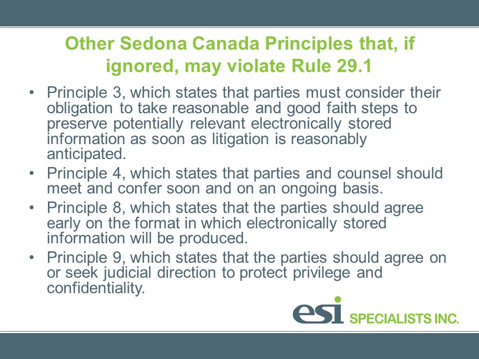 Other Sedona Canada Principles that, if ignored, may violate Rule 29.1 Principle 3, which states that parties must consider their obligation to take r