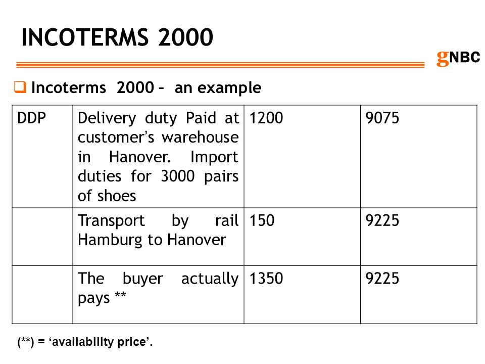 g NBC INCOTERMS 2000 Incoterms 2000 – an example DDPDelivery duty Paid at customer s warehouse in Hanover. Import duties for 3000 pairs of shoes 12009