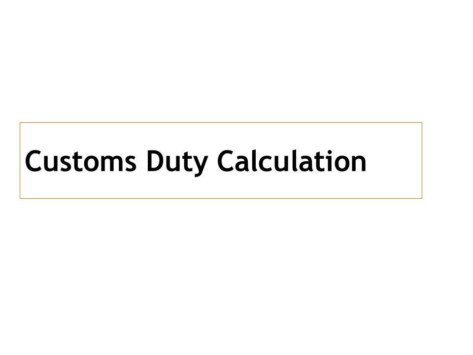 Customs Duty Calculation