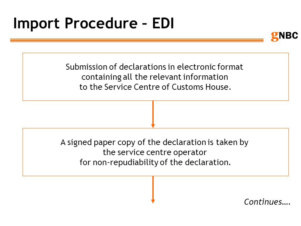 g NBC Import Procedure – EDI Submission of declarations in electronic format containing all the relevant information to the Service Centre of Customs