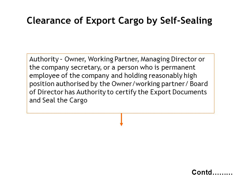 g NBC Clearance of Export Cargo by Self-Sealing Contd……… Authority – Owner, Working Partner, Managing Director or the company secretary, or a person w