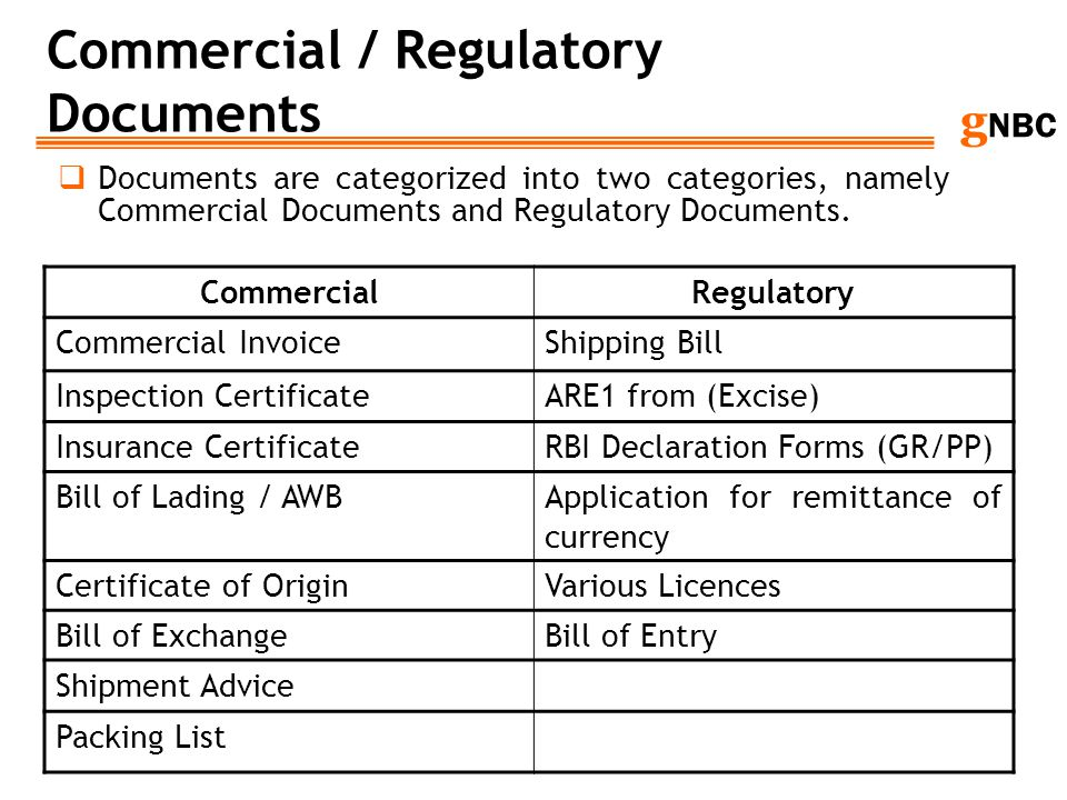 g NBC Commercial / Regulatory Documents Documents are categorized into two categories, namely Commercial Documents and Regulatory Documents. Commercia