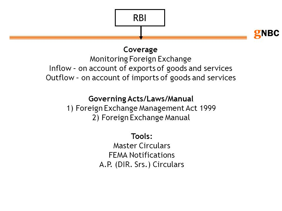g NBC RBI Coverage Monitoring Foreign Exchange Inflow – on account of exports of goods and services Outflow – on account of imports of goods and servi