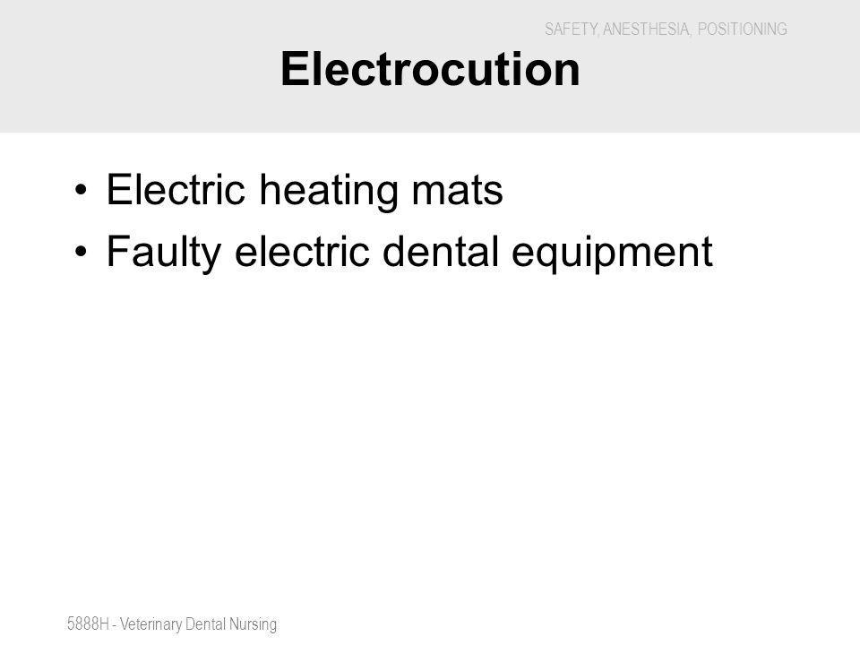 SAFETY, ANESTHESIA, POSITIONING 5888H - Veterinary Dental Nursing Electrocution Electric heating mats Faulty electric dental equipment